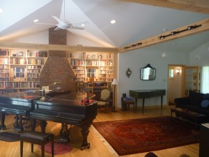 Music room with custom CD shelving